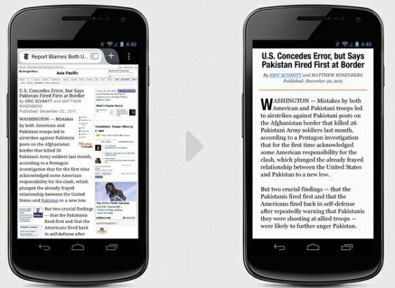 Firefox mobile reader mode