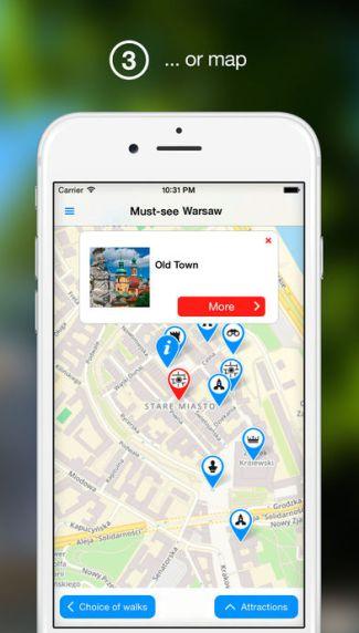 Screen aplikacji mobilnej Warsaw Tour