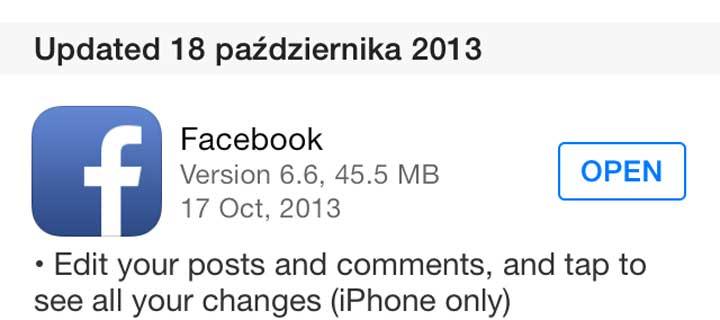 Facebook update iOS