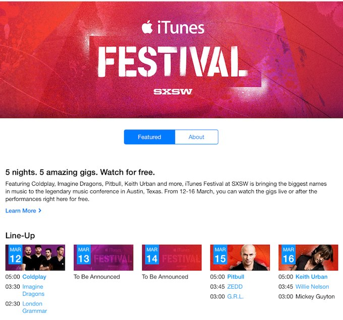 Program iTunes Festival SXSW 2014