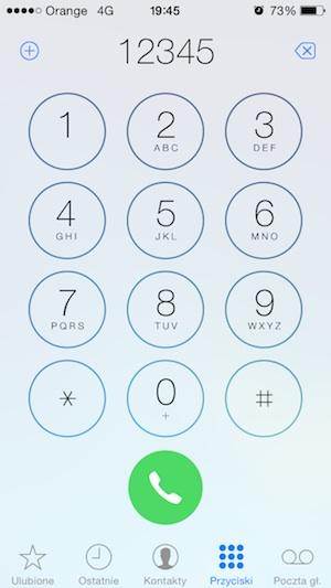 aplikacja Telefon na iOS 7.1