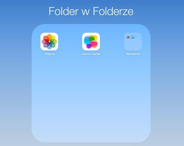 Jak umieścić folder w folderze w iOS 7.1?