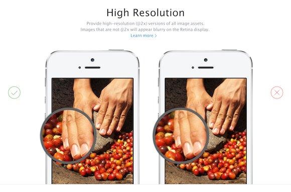 Wyska rozdzieczość w aplikacjach na iOS 7