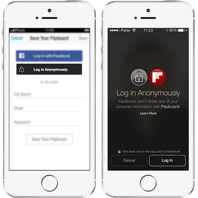 Facebook - anonimowe logowanie
