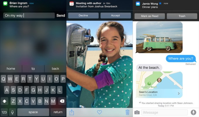 interaktywne powiadomienia w iOS 8