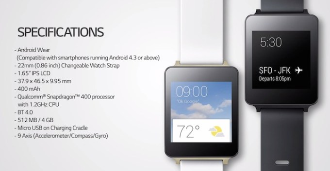 Specyfikacja zegarka LG G Watch