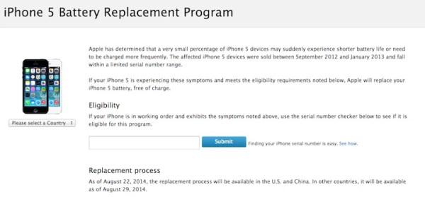 Program wymiany baterii w iPhone'ie 5
