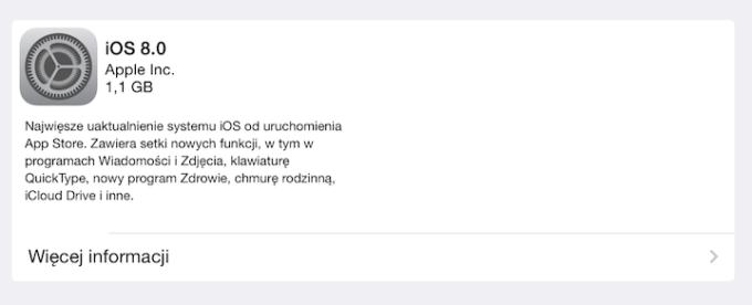 Instalacja iOS 8