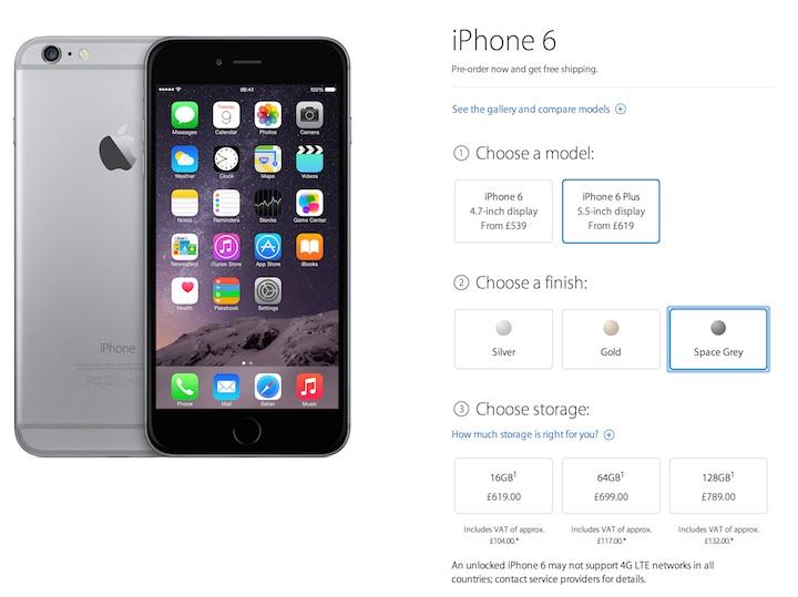 Cena iPhone'a 6 Plus w  Wielkiej Brytanii