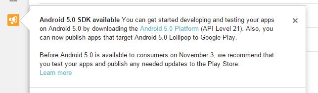 Wiadomość potwierdzająca premierę Androida 5.0 Lollipop