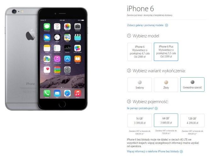 Ceny iPhone'a 6 i 6 Plus w Apple Storze
