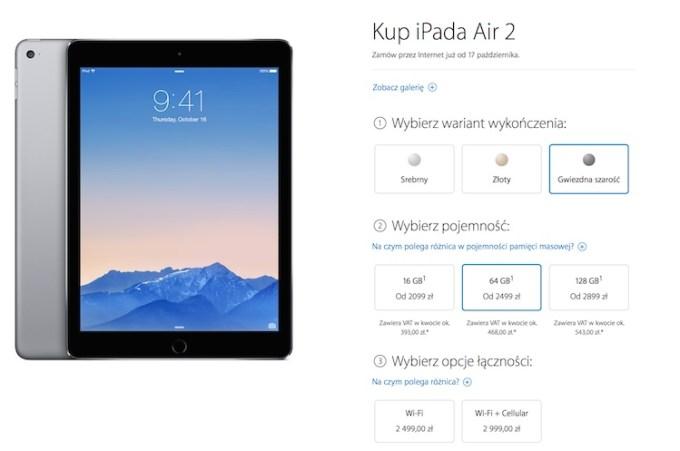 Ceny iPada Air 2 w polskim Apple Storze
