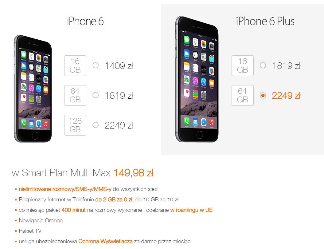 Ceny iPhone'a 6 i 6 Plus w Orange