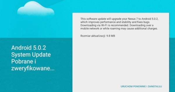 Android 5.0.2 Lollipop w trybie OTA na Nexusa 7