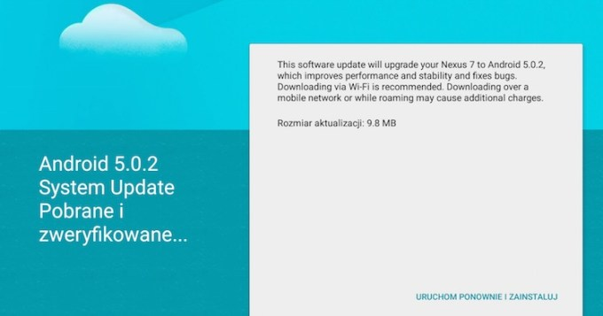 Android 5.0.2 Lollipop - system update OTA