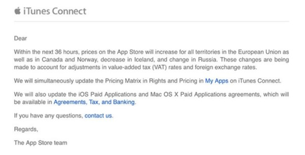 Podwyżka cen w sklepie App Store