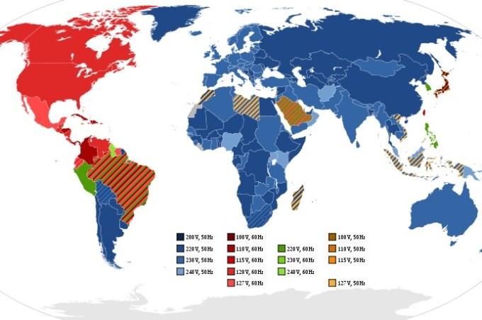 Napięcie i częstotliwość prądu na świecie - mapa