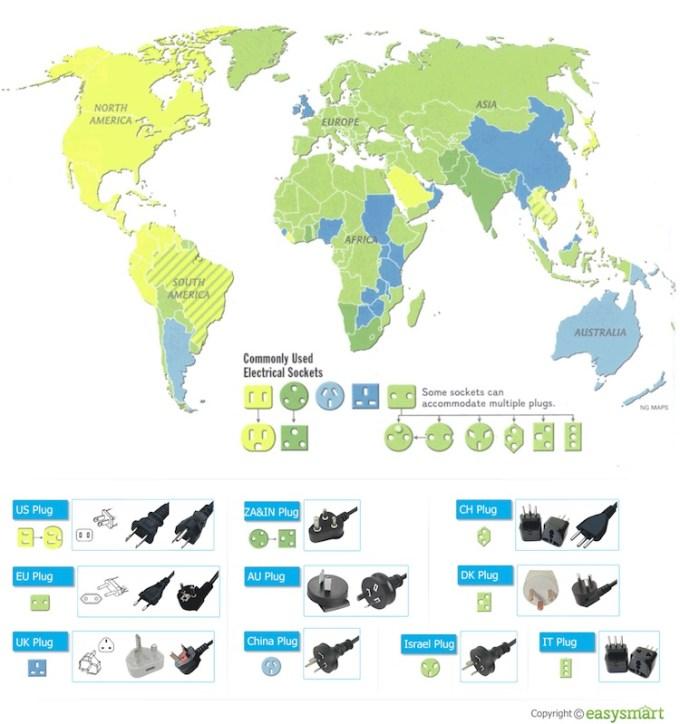 Wtyczki i gniazdka na świecie - mapa