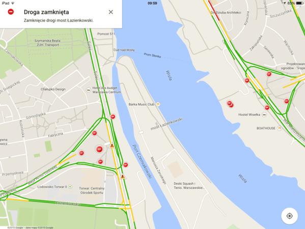 Most Łazienkowski na mapach Apple'a i Google'a