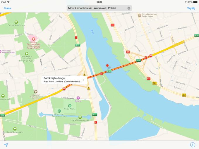 Most Łazienkowski - Mapy Apple