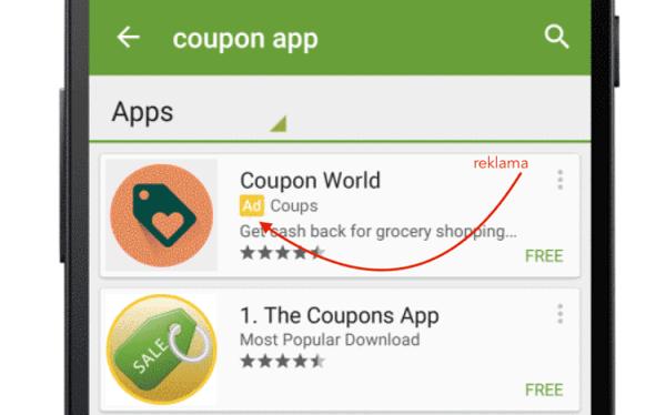 Sponsorowane wyniki wyszukiwania w Google Play