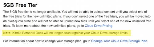 informacja o darmowej przestrzeni w Cloud Drive dla dokumentów na Kindle'a