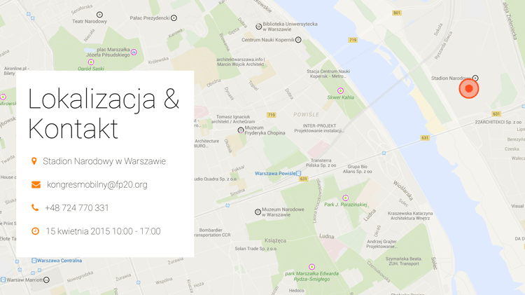 Lokalizacja I Kongresu Mobilnego w Warszawie