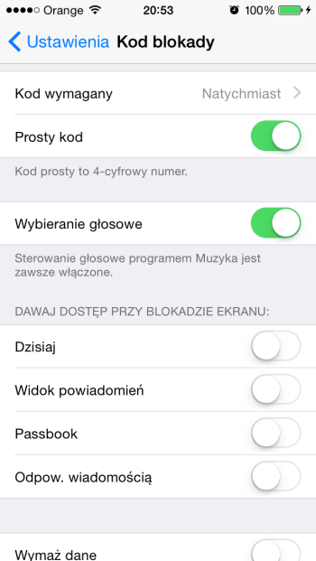 Kod blokady w iPhone'ie