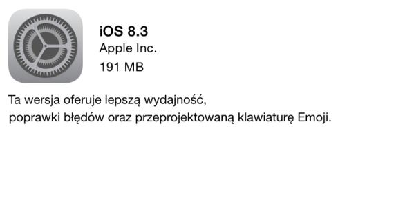 iOS 8.3 gotowy do pobrania