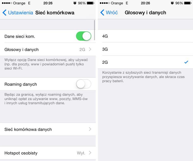 przełączanie między 2G, 3G i 4G w sieci Orange pod iOS 8.3