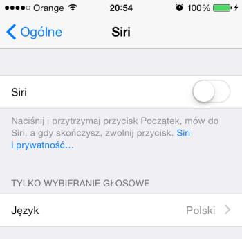 Ustawienia Siri w iPhone'ie