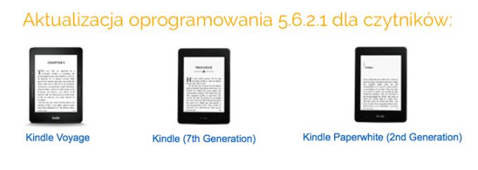 Aktualizacja czytników Kindle do wersji 5.6.2.1