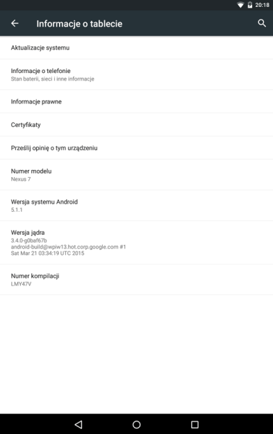 Android 5.1.1 Nexus 7 (2013 Wi-Fi)