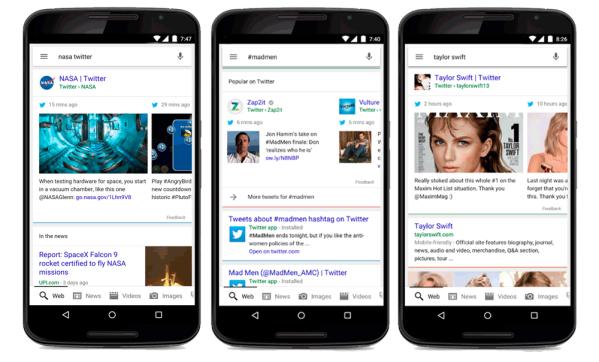 Tweety w mobilnych wynikach wyszukiwania