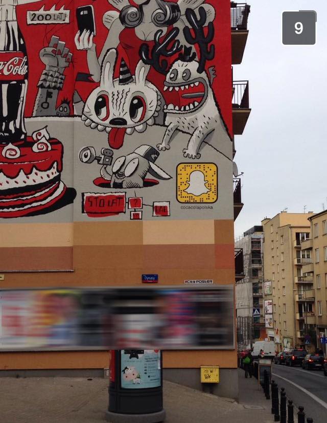 Mural ze Snapcode'em w Warszawie przy ul. Tamka