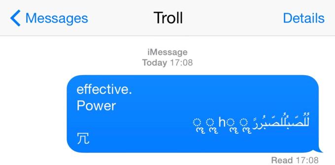 Wiadomość z arabskimi literami, która restartuje iPhone'a