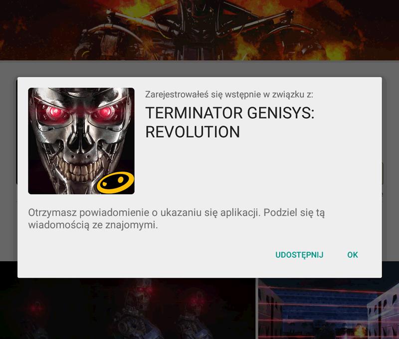 Opcja Wstępnie zarejestruj w sklepie Google Play