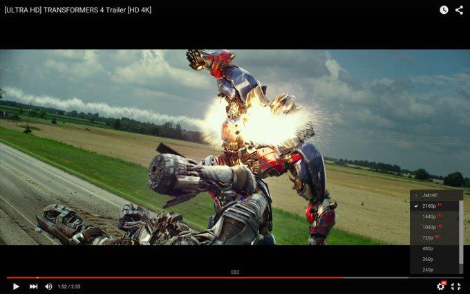 Nowy player YouTube z możliwościa odtwarzania filmów w jakości 4K (Transformers 4)