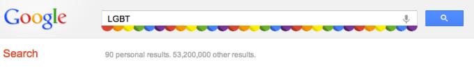 Google LGBT search box - przeprojektowany pasek wyszukiwania
