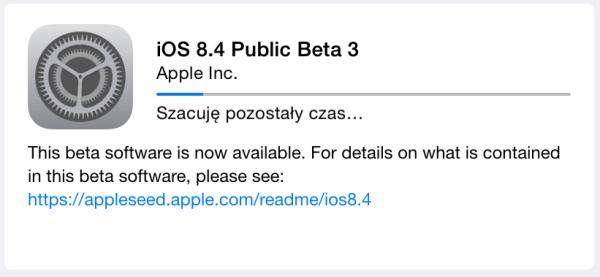 iOS 8.4 beta 4 i Public beta 3 w trybie OTA