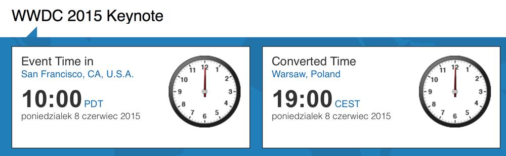 Keynote WWDC 2015 (czas Warszawa i San Francisco)