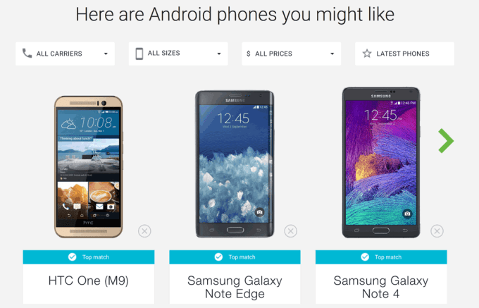 Wyniki wyboru w narzędziu dopasowania smartfona