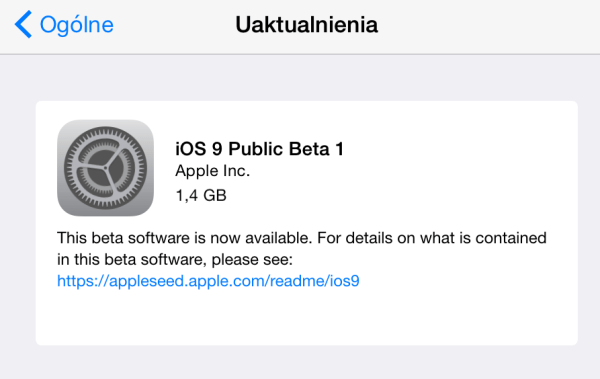 Apple udostępniło iOS 9 Public Beta 1