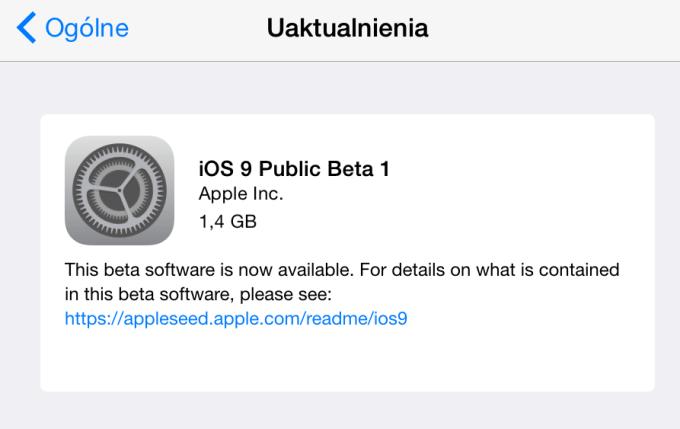 iOS 9 Public Beta 1