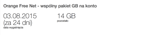 Wspólny pakiet GB na konto w Orange
