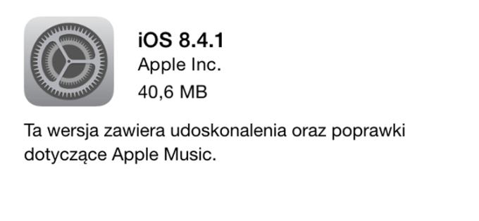 Aktualizacja iOS 8.4.1
