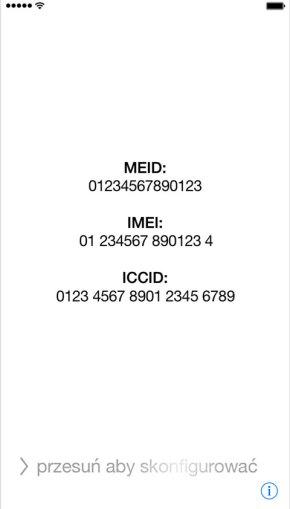 iPhone 6 Plus - ekran konfiguracji z numerami seryjnymi i IMEI