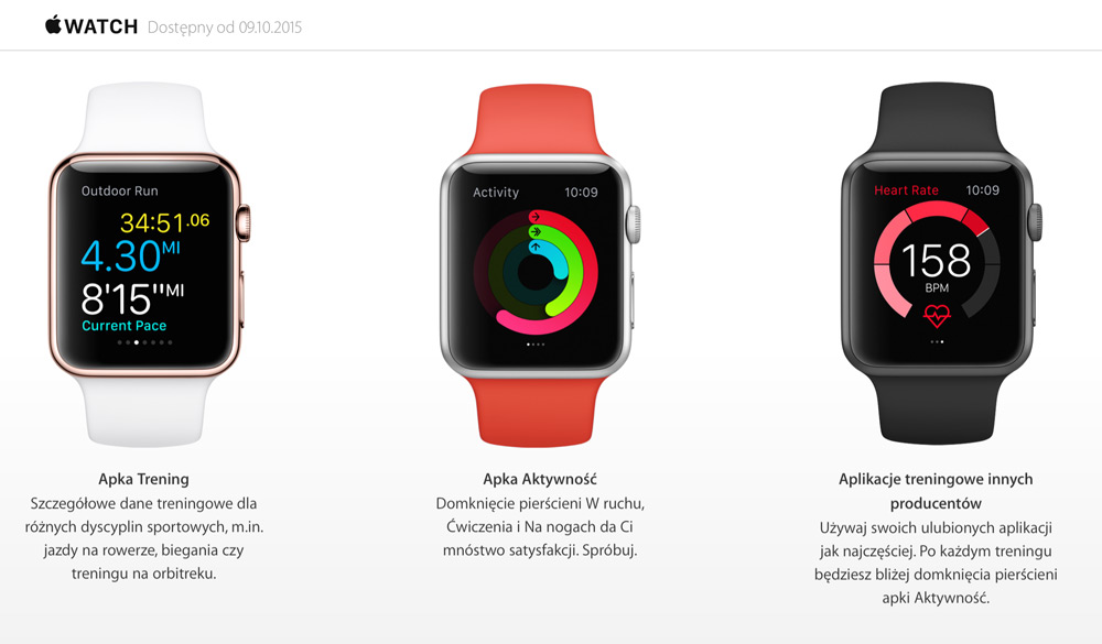 Apple Watch w polskim Apple Storze od 9 października 2015 r.