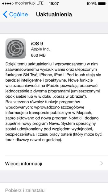 iOS 9 na iPhone'a 5 (screen)