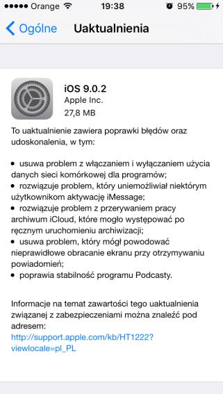 iOS 9.0.2 na iPhone'a 5 (OTA)